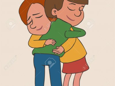 boy and girl hugging with smiles, cartoon vector illustration of friendship and love